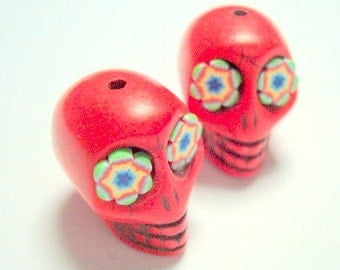 Funky Flowers in Bright Red Howlite Sugar Skull Beads
