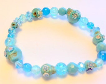 Turquoise Day of the Dead Sugar Skull Stretchy Bracelet