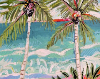 Palm Tree Landscape Painting on 18 x 24 Paper by Karen Fields