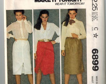 Vintage 7 0s Misses Skirts Sewing Pattern Size 8 Waist 24 Three Variations Front or Side Slit Wrap Skirt Slightly Gathered Shaped Hemline