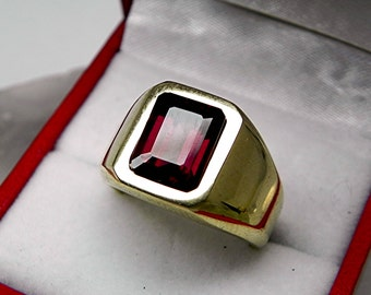 AAA RED Rubellite Tourmaline 10x8mm  4.20 Carats   Heavy 14K Yellow gold Emerald cut Mans or GENTS ring 15-16 grams 1727