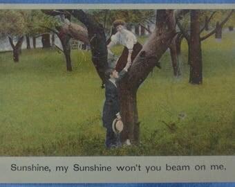 Comic Sunshine Won't You Beam on Me Couple Romance Postcard 1909