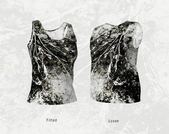 Workout Tank Top in Graphic Natural Abstract Dried Plants Urban Grunge, Fitted or Loose Style Cut