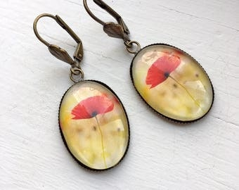 Poppy Flower Resin Pendant Earrings