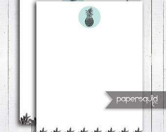 INSTANT DOWNLOAD Pineapple Stationery Letterhead Note Paper 8.5x11 inches- Digital Printable - Item 198