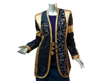 Vintage 80s Jeanne Marc Glam Asian Inspired Coat Size Small 4-6 Loose Fit Gold Black Opulent Details