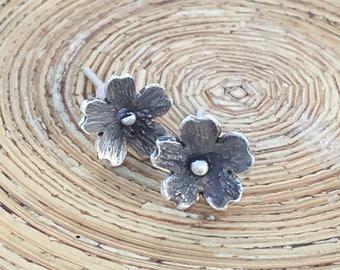 Flower stud earrings, Cherry blossom sterling silver oxidized earrings, Dainty sakura earrings
