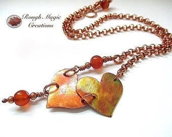Copper Hearts and Gemstone Necklace, Romantic Boho Gift for Women, Red Orange Carnelian Stone, 7th Anniversary for Wife N284