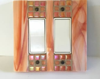 Double Decora Light Switch Cover, Decorative Switch Plate, Stained Glass Mosaic Switchplate, Outlet Cover, Dimmer Switch, GFI GFCI, 8911