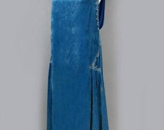 1920's Teal Blue Silk Velvet Rhinestone Flapper Dress - S/M