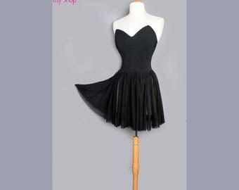 1980's Betsey Johnson Black Ballerina Dress Punk Label - MEDIUM