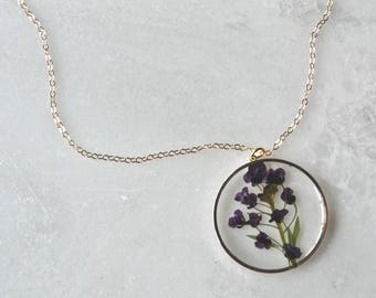 Purple Alyssum Necklace Pressed Flower Jewelry Botanical Jewelry Bridal Jewelry