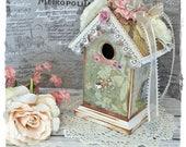 Handmade Mixed Media Bird House ~ Altered Green Shabby Chic Roses Decor