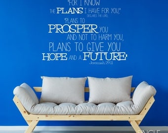 Bible Verse Wall Decals Jeremiah 29:11 - Vinyl Wall Stickers Art Scripture Bible Custom Home Decor