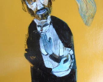 EMERY original painting 'julio cortazar,cat and existential shadow' outsider art portrait jill emery folk