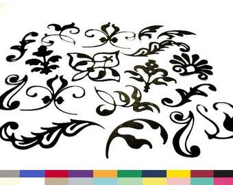 Flourish Die Cuts Sampler Set of 18 Embellishment Paper Cuttings DIY Crafts Invitations Scrapbooking Supply 20 Colors