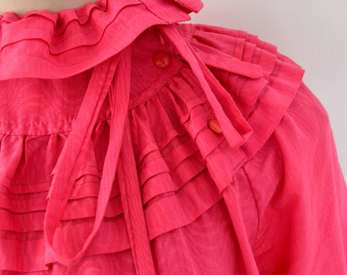 Vintage 1980's PINK FRILLY BLOUSE.