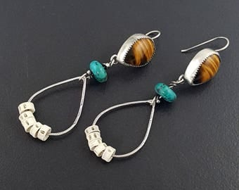 Tiger Eye Hoop Earrings, boho, bohemian, hoops, hoop earrings, sterling silver, turquoise silver, fish vertebrae earrings, michele grady