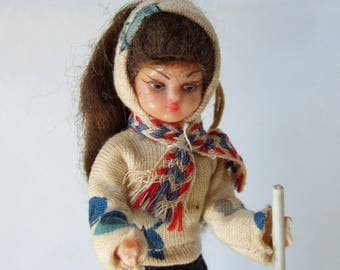 Kitsch Hiking Doll- 1950s Vintage French Souvenir Doll with Long Ponytail
