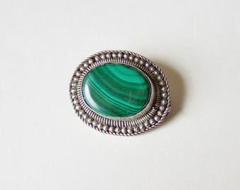 Green Malachite Brooch in Silvery Setting - Vintage Semi-precious Stone Jewellery