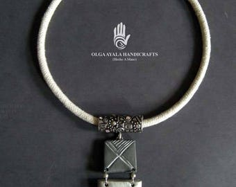 Tribal Rope Necklace - Grey, SIlver