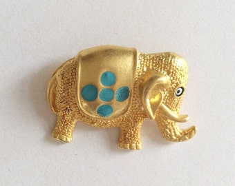 1 pc Matte 22K Gold Plated Base Elephant Evil Eye Charm 35x25mm-(007-055)