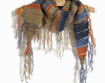 Handmade Crochet Triangle Scarf - Fringe - Boho Neckerchief - Southwestern Clothing - Shoulder Warmer - Blue - Beige - Orange