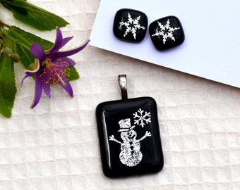 Dichroic fused glass pendant and earring set, black, silver snowman and matching snow flake earrings