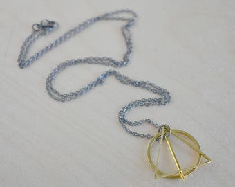 The Wand, the Stone & the Cloak   Geometric Necklace   Minimal Shape Pendant Design   Magical Wizard Symbol Necklace
