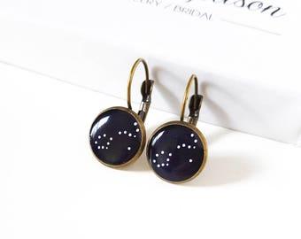 Small Custom Constellation Earrings on Bronze Leverback Earring Hooks, Personalized, Stars, Zodiac, Birthday, Astronomy