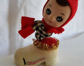 Vintage Elf Tape Measure Pin Cushion, Christmas Decoration, Elf Hugging Knees Sitting on a Boot, Made in Japan Sewing Notion