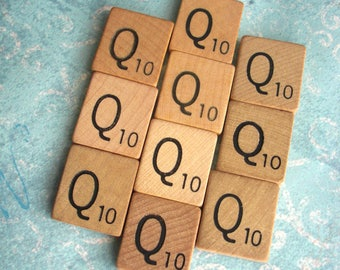 10 LETTER Qs .. Ten VINTAGE Scrabble Tiles .. 10 good condition wooden squares for your pendants, art, scrapbook project ..