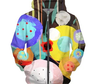 Hoodie -  Poppies Meadow Happy Art - Ruth Fitta-Schulz Fabric Design - Handmade Abstract Art for RageOn