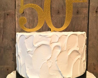 50th Birthday or Anniversary Acrylic/Wood Cake Topper