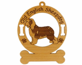 3636 Old English Sheepdog Personalized Wood Ornament