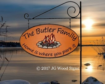 Large Oval Personalized Family Name Cedar Sign Campfire - Wooden Camp Sign - JGWoodsigns - Etsy Campsite Name Sign Custom RV Sign Butler