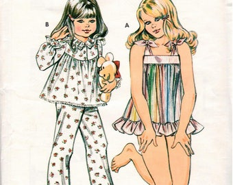 Vintage Kwik-Sew Pattern 1166 - Girls' Pajamas in Two Styles - Baby Doll Pajamas - Long Pajamas - 4-7