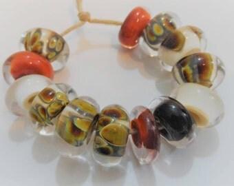 Handmade Lampwork Beads, Artisan Glass Beads, Earthy Brown Ivory