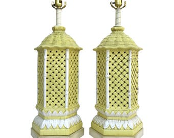 Regency Yellow Pagoda Table Lamps by Nardini Studio