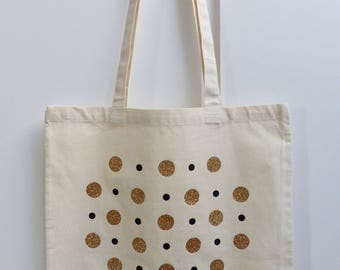 Shopping bag, tote bag, canvas bag, shoulder bag, Market bag, Glitter spot print cotton shoulder bag.