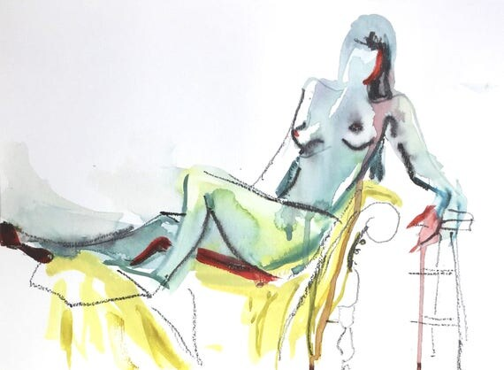 Nude painting- Original watercolor painting of Nude #1437 by Gretchen Kelly