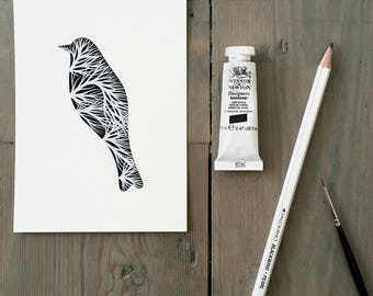 Bird with Trees 12 - Original Contemporary 4x6 Watercolour Painting - Black and White, Monochrome Art - by Natasha Newton
