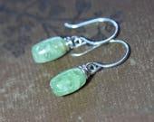 Green Kyanite Earrings Sterling Silver Green Gemstone Earrings Luxe Rustic Jewelry