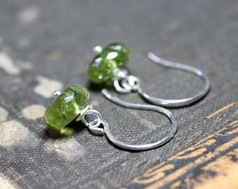Bright Green Peridot Earrings Green Gemstone Earrings Sterling Silver Wire Wrapped Dangles