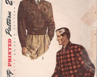 Simplicity 3074 1940s Mens Lumber JACKET Pattern Zip Front Adult Vintage Sewing Pattern Size Small Chest 34 36