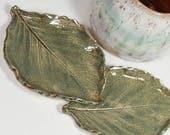 Leaf Pottery Ceramic - Set of Two Leaves - Spoon Rest - Tea Bag Rest - Ring Dish