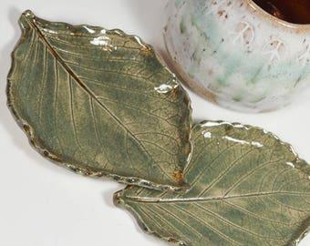 Spoon Rest Set of Two Leaves - Tea Bag Rest - Ring Dish - Handmade Ceramic Leaf
