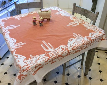 Vintage Tablecloth Cactus in the Desert