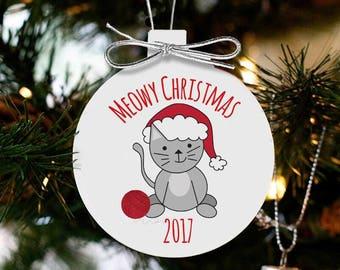 Meowy Christmas ornament cat christmas gift custom ornament - kitten's 1st Christmas  MCO