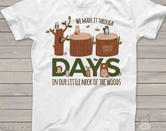 Teacher shirt - 100 Days Smarter - woodland animals 100 hundred day crew neck or vneck shirt  MSCL-127
